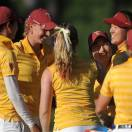 Southern California teammates congratulate Annie Park, second from right, as the team celebrates after winning the NCAA Division 1 Women's Golf Championships played at the University of Georgia Golf Course, Friday, May 24, 2013, in Athens, Ga. Park won the individual title. (AP Photo/David Tulis)