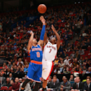 MONTREAL, QC - OCTOBER 24: Kyle Lowry #7 of the Toronto Raptors takes a jump shot as Shane Larkin #0 of the New York Knicks defends during their pre-season NBA game at the Bell Centre on October 24, 2014 in Montreal, Quebec, Canada. (Photo by Dave Sandford/NBAE via Getty Images)