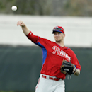 Philadelphia Phillies pitcher A.J. Burnett throws during spring training baseball practice Monday, Feb. 24, 2014, in Clearwater, Fla The Associated Press
