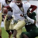 Florida State quarterback EJ Manuel (3) gets sacked by South Florida defensive lineman Tevin Mims (99) during the first quarter of an NCAA college football game Saturday, Sept. 29, 2012, in Tampa, Fla. (AP Photo/Chris O'Meara)