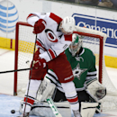 Carolina Hurricanes center Jordan Staal (11) tries to get the puck past Dallas Stars goalie Kari Lehtonen during the first period of an NHL hockey game on Thursday, Feb. 27, 2014, in Dallas The Associated Press