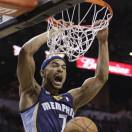 Memphis Grizzlies' Jerryd Bayless (7) reacts as he scores against the San Antonio Spurs during the second half in Game 1 of a Western Conference Finals NBA basketball playoff series, Sunday, May 19, 2013, in San Antonio. (AP Photo/Eric Gay)
