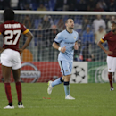 Manchester City's Pablo Zabaleta, center, celebrates after scoring during a Group E Champions League soccer match between Roma and Manchester City at the Olympic stadium in Rome, Italy, Wednesday Dec.10, 2014