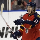 FILE - In this Saturday, March 30, 2013 file photo, Florida Panthers' Jonathan Huberdeau celebrates the Panthers' first goal