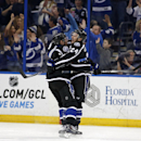 Tampa Bay Lightning's Ryan Callahan (24) celebrates his goal with teammate Alex Killorn during the first period of an NHL hockey game against the Colorado Avalanche, Saturday, Jan. 17, 2015, in Tampa, Fla. The Lightning won 3-2 The Associated Press