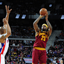 AUBURN HILLS, MI - JANUARY 27: LeBron James #23 of the Cleveland Cavaliers takes a shot against the Detroit Pistons on January 27, 2015 at The Palace of Auburn Hills in Auburn Hills, Michigan. (Photo by Allen Einstein/NBAE via Getty Images)