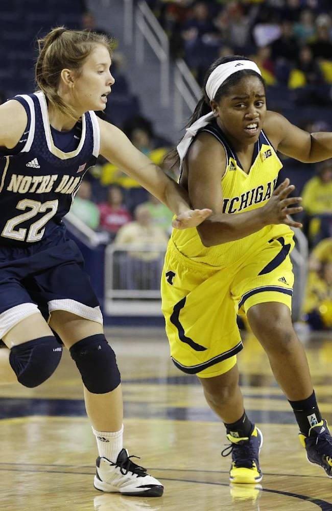 Michigan guard Siera Thompson drives against Notre Dame guard Madison Cable (22) during the first half of an NCAA women's college basketball game in Ann Arbor, Mich., Saturday, Dec. 14, 2013