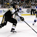 Pittsburgh Penguins' Evgeni Malkin (71) skates during an NHL hockey game against the St. Louis Blues in Pittsburgh, Sunday, March 23, 2014. The Blues won 1-0 The Associated Press