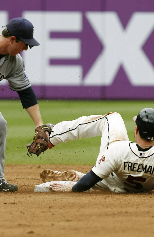 Atlanta Braves Freddie Freeman slides safely into second before the tag from San Diego Padres Jedd Gyorko in the fifth inning of a baseball game at Turner Field on Sunday, Sept. 15, 2013, in Atlanta