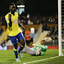 Derby's Simon Dawkins celebrates scoring a goal during the English League Cup soccer match between Fulham and Derby County at Craven Cottage stadium in London, Tuesday, Oct. 28, 2014