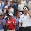 Jim Furyk of the US walks off the 16th tee box after playing his shot during the final round of the British Open Golf championship at the Royal Liverpool golf club, Hoylake, England, Sunday July 20, 2014