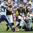 Cleveland Browns running back Ben Tate (44) carries the ball against the Tennessee Titans in the second quarter of an NFL football game Sunday, Oct. 5, 2014, in Nashville, Tenn The Associated Press