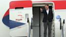 <p>All smiles: Tom Watson leads his side off the plane in Edinburgh.(Getty Images)</p>