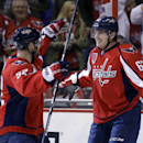 Washington Capitals defenseman Mike Green, left, celebrates with center Chris Brown, after Brown's goal in the first period of an NHL hockey game against the New Jersey Devils, Thursday, Oct. 16, 2014, in Washington The Associated Press