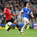 Everton's Leighton Baines right, and Manchester United's Nani battle for the ball during their English Premier League soccer match at Goodison Park in Liverpool, England, Sunday April 20, 2014