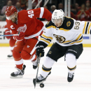 Boston Bruins left wing Brad Marchand (63) breaks away from Detroit Red Wings' Henrik Zetterberg, of Sweden, in the first period of a NHL hockey game in Detroit Thursday, Oct. 9, 2014 The Associated Press