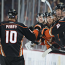The Ducks' Corey Perry celebrates his second goal of the night against the Buffalo Sabres at Honda Center Wednesday night Oct. 22, 2014 The Associated Press