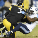 Tennessee Titans linebacker Quentin Groves sacks Pittsburgh Steelers quarterback Ben Roethlisberger (7) for a 9-yard loss in the first half of an NFL football game Monday, Nov. 17, 2014, in Nashville, Tenn The Associated Press