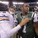 Chicago Bears quarterback Jay Cutler (6) greets New York Jets quarterback Geno Smith (7) after the Bears beat the Jets 27-19 in an NFL football game, Monday, Sept. 22, 2014, in East Rutherford, N.J The Associated Press