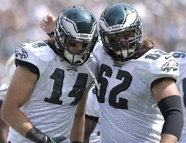 Philadelphia Eagles' Riley Cooper (14) and Jason Kelce is seen during an NFL football game against the San Diego Chargers, Sunday, Sept. 15, 2013, in Philadelphia