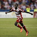 FC Dallas midfielder Je-Vaughn Watson (27) celebrates his goal in the first half of an MLS soccer game against the Vancouver Whitecaps, Saturday, Sept. 7, 2013, in Frisco, Texas The Associated Press
