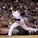 Colorado Rockies LaTroy Hawkins throws against the San Francisco Giants during the ninth inning of a baseball game, Tuesday, April 22, 2014, in Denver. The Rockies win 2-1 The Associated Press