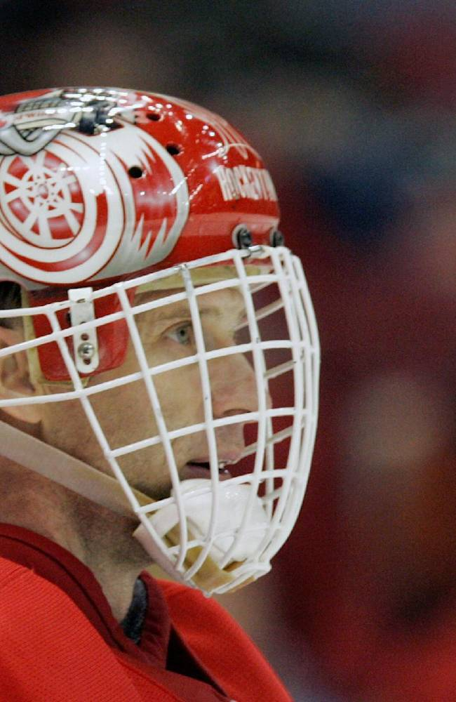 In this April 12, 2008 file photo, Detroit Red Wings goalie Dominik Hasek (39) of the Czech Republic looks on during the second period of Game 2 of the Western Conference quarterfinal hockey playoffs in Detroit. Hasek is expected to be part of the class of 2014 at the Hockey Hall of Fame, which will be announced Monday, June 23, 2014