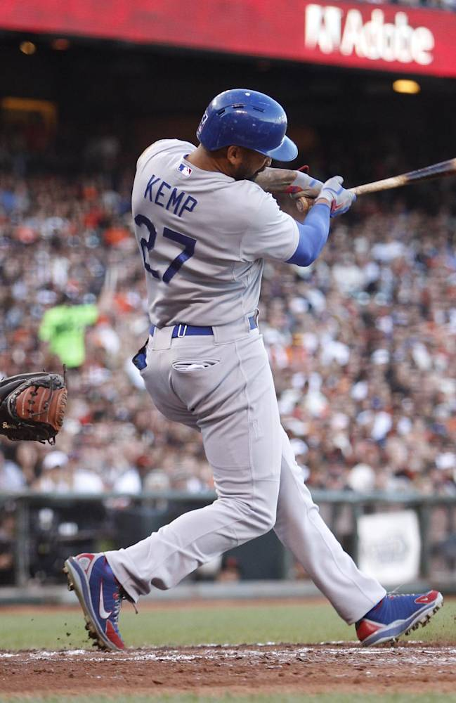 Los Angeles Dodgers' Matt Kemp (27) hits a single during the fifth inning of a baseball game against the San Francisco Giants, Saturday, July 26, 2014, in San Francisco. (AP Photo/Beck Diefenbach)