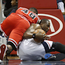 Atlanta Hawks power forward Elton Brand (42) and Chicago Bulls center Nazr Mohammed (48) scramble for a loose ball in the first half of an NBA basketball game Tuesday, Feb. 25, 2014, in Atlanta The Associated Press