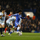 Chelsea's Willian evades defenders during the Champions League Group E soccer match between Chelsea and Steaua Bucharest at Stamford Bridge Stadium in London Wednesday, Dec. 11, 2013