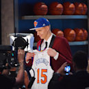 BROOKLYN, NY - JUNE 25: Kristaps Porzingis the 4th pick overall in the 2015 NBA Draft by the New York Knicks during the 2015 NBA Draft at the Barclays Center on June 25, 2015 in the Brooklyn borough of New York City. (Photo by Jesse D. Garrabrant/NBAE via Getty Images)