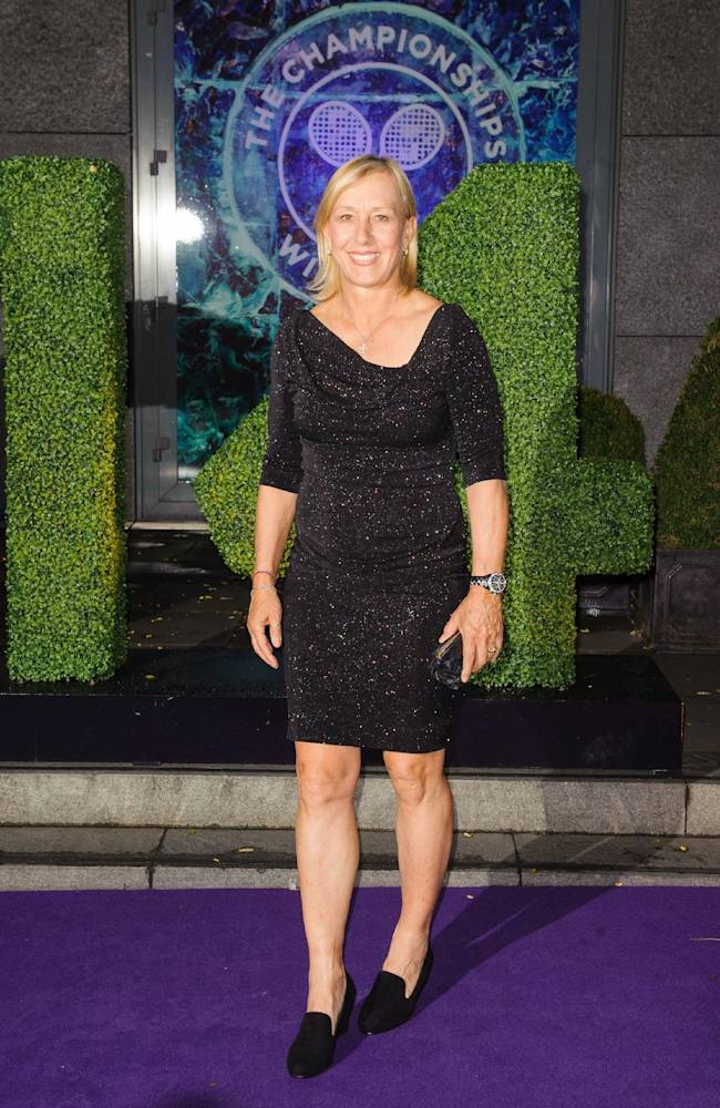 Martina Navratilova arriving at the Wimbledon Champions Dinner 2014, at the Royal Opera House, in Covent Garden, London, Sunday July 6, 2014