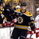 Boston Bruins' Justin Florek is congratulated at the bench after scoring a goal as Detroit Red Wings' Tomas Tatar (21) skates to the bench during the first period of Game 2 of a first-round NHL hockey playoff series in Boston Sunday, April 20, 2014. (AP Photo/Winslow Townson)