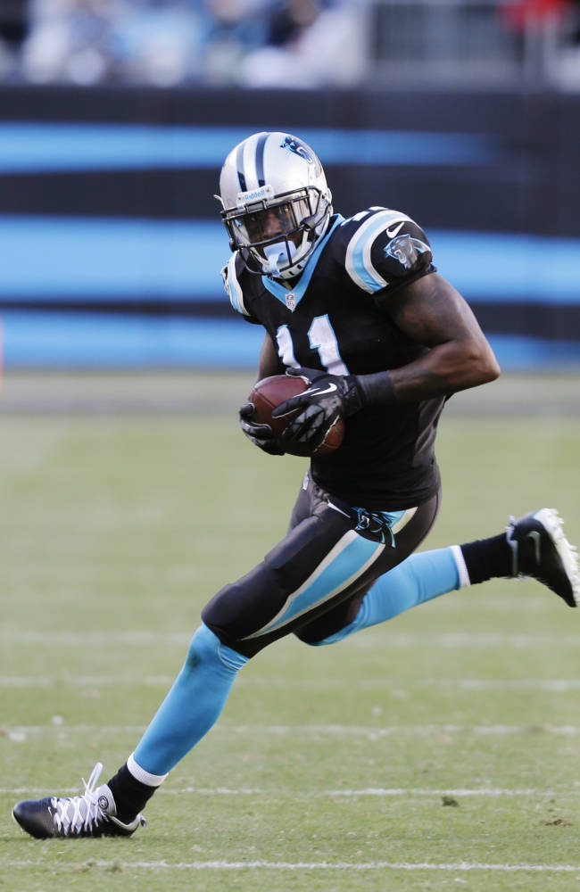 Carolina Panthers wide receiver Brandon LaFell (11) runs the ball against the San Francisco 49ers during the second half of a divisional playoff NFL football game, Sunday, Jan. 12, 2014, in Charlotte, N.C