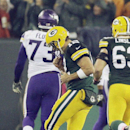 Green Bay Packers quarterback Aaron Rodgers celebrates a touchdown pass to Randall Cobb during the first half of an NFL football game against the Minnesota Vikings Thursday, Oct. 2, 2014, in Green Bay, Wis The Associated Press