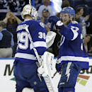 Tampa Bay Lightning goalie Anders Lindback (39), of Sweden, celebrates with defenseman Victor Hedman (77), of Sweden, after the team defeated the Toronto Maple Leafs 3-0 during an NHL hockey game Tuesday, April 8, 2014, in Tampa, Fla The Associated Press