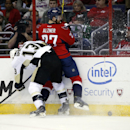 Pittsburgh Penguins center Nick Spaling (13) pins Washington Capitals defenseman Karl Alzner (27) agains the boards in the second period of an NHL hockey game, Wednesday, Jan. 28, 2015, in Washington The Associated Press