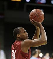 Oklahoma's Buddy Hield attempts a jump shot during practice for the NCAA college basketball tournament in Spokane, Wash., Wednesday, March 19, 2014. Oklahoma plays against North Dakota State in a second-round game on Thursday. (AP Photo/Young Kwak)