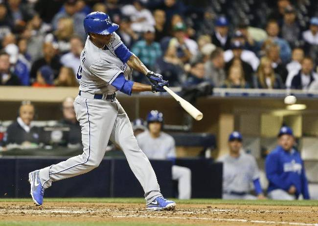 Kansas City Royals starting pitcher Yordano Ventura slams the first major league hit of his career while batting against the San Diego Padres in the fifth inning of a baseball game Monday, May 5, 2014, in San Diego
