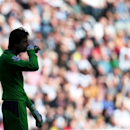 Newcastle United's goalkeeper Tim Krul stands dejected after being defeated by Swansea City at the end of their English Premier League soccer match at St James' Park, Newcastle, England, Saturday, April 19, 2014