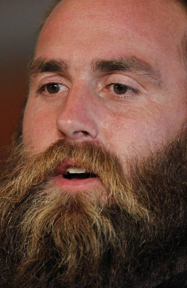 Pittsburgh Steelers' defensive end Brett Keisel speaks, during a press conference in central London, Friday, Sept. 27, 2013. The Steelers play the Minnesota Vikings on Sunday in a NFL football game at Wembley Stadium, in London