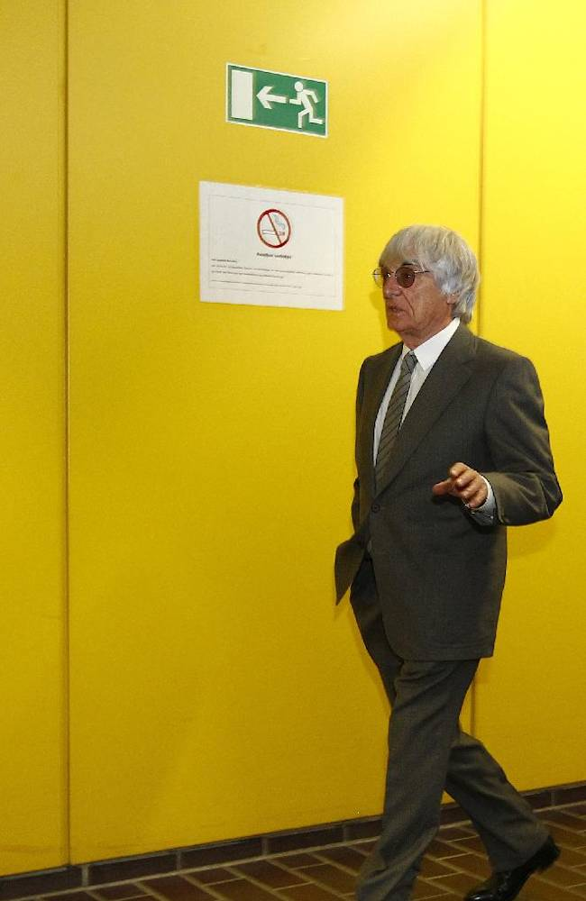 Formula One boss  Bernie Ecclestone arrives in  the regional court in Munich , Germany on  Tuesday June 24, 2014. Ecclestone is charged with bribery and incitement to breach of trust
