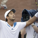 Spain's Fernando Verdasco celebrates his win over countryman Nicolas Almagro in the final of the U.S. Men's Clay Court Championship tennis tournament Sunday, April 13, 2014, in Houston. Verdasco won 6-3, 7-6 (4). (AP Photo/Pat Sullivan)