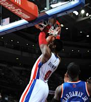 AUBURN HILLS, MI - MARCH 3: Andre Drummond #0 of the Detroit Pistons dunks during a game against the New York Knicks on March 3, 2014 at The Palace of Auburn Hills in Auburn Hills, Michigan. (Photo by Allen Einstein/NBAE via Getty Images)