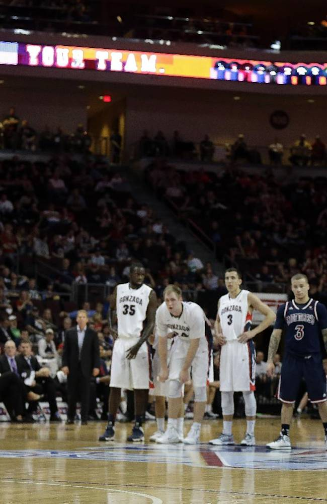 Gonzaga's Kevin Pangos shoot s a free throw following a technical foul during the first half of a West Coast Conference tournament NCAA college basketball game, Monday, March 10, 2014, in Las Vegas