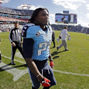 Tennessee Titans running back Chris Johnson (28) walks off the field before an NFL football game against the Houston Texans Sunday, Dec. 29, 2013, in Nashville, Tenn. (AP Photo/Wade Payne)
