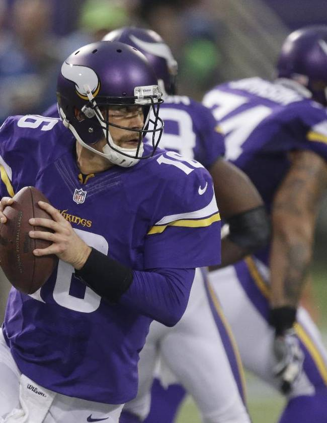 In this Dec. 1, 2013 photo, Minnesota Vikings quarterback Matt Cassel looks to throw a pass during the second half of an NFL football game against the Chicago Bears in Minneapolis.  Cassel took over for quarterback Christian Ponder, after Ponder took a hit to the head late in the second quarter during a rushed third-down throw