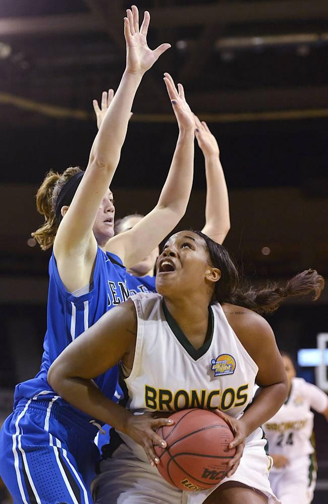 Cal Poly Pomona's Jada Blackwell looks for a shot as Bentley's Caleigh Crowell defends during the second half in an NCAA women's Division II basketball tournament semifinal in Erie, Pa., on Wednesday, March 26, 2014