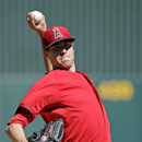 Los Angeles Angels' Tyler Skaggs throws before the first inning of an exhibition spring training baseball game against the Cincinnati Reds, Sunday, March 9, 2014, in Tempe, Ariz The Associated Press