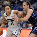 Connecticut's Bria Hartley, left, drives past Villanova's Jesse Carey during the first half of an NCAA college basketball game in Hartford, Conn., Tuesday, Jan. 29, 2013. (AP Photo/Fred Beckham)